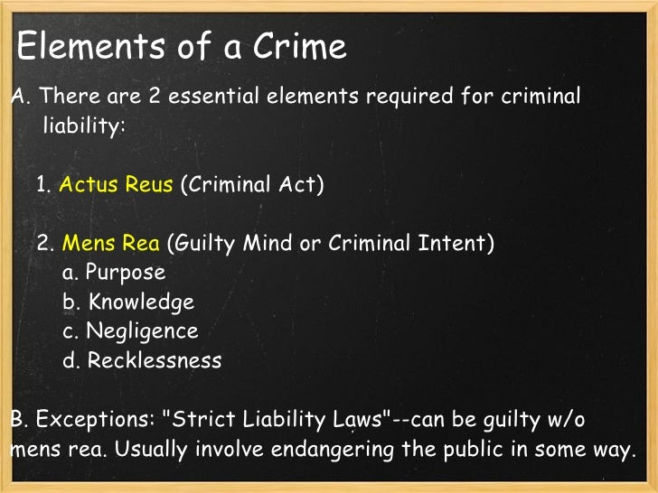 essential elements of crime Study flashcards on criminal law elements of the crimes at cramcom quickly memorize the terms, phrases and much more cramcom makes it easy to get the grade you want.