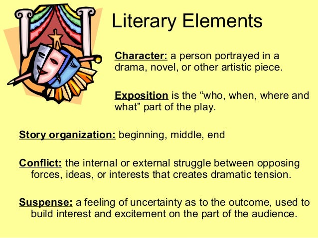4 elements of drama edited 1 Aristotle's six elements of drama 1 action or plot 2 character 6 3  thought 4 language 5 song and dance 6 spectacle or visual excess.