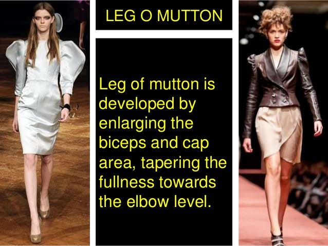 LEG O MUTTON Leg of mutton is developed by enlarging the biceps and cap area, tapering the fullness towards the elbow leve...