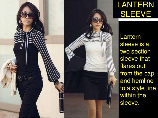 Lantern sleeve is a two section sleeve that flares out from the cap and hemline to a style line within the sleeve. LANTERN...