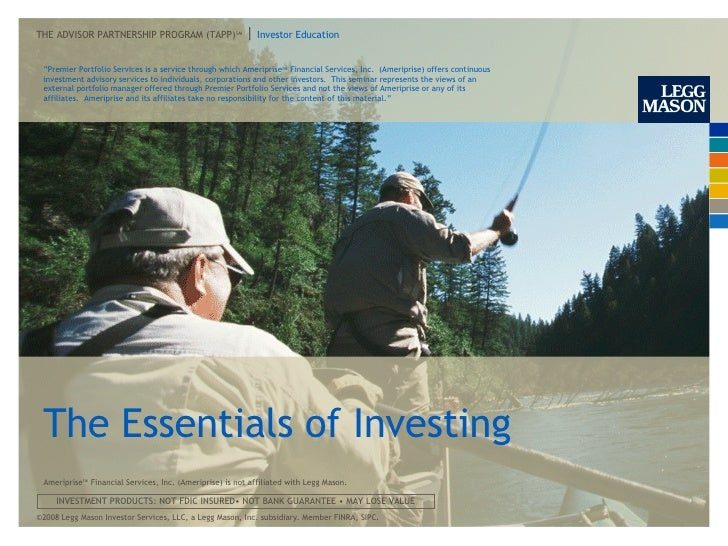 "The Essentials of Investing "" Premier Portfolio Services is a service through which Ameriprise SM  Financial Services, Inc..."