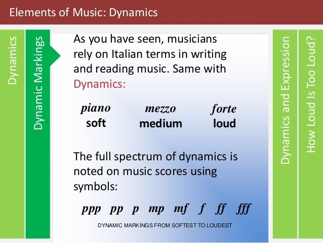 Elements Of Music Dynamics And Tone Color