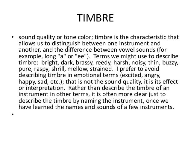 Elements of music powerpoint for Tone color definition