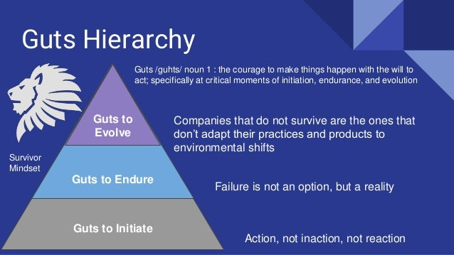 Guts Hierarchy Guts to Initiate Guts to Endure Guts to Evolve Guts /guhts/ noun 1 : the courage to make things happen with...