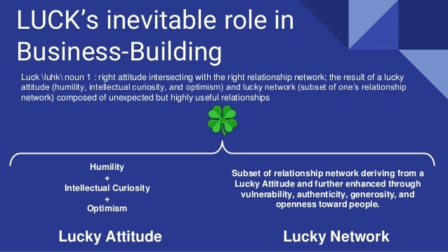 LUCK's inevitable role in Business-Building Luck luhk noun 1 : right attitude intersecting with the right relationship net...