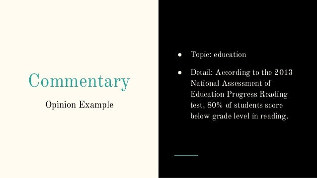 elements of an essay writing details  29 commentary opinion example ○ topic education