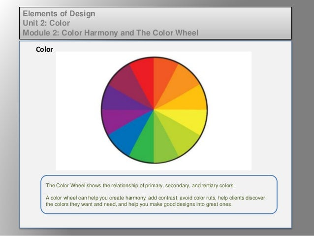Elem Of Design Unit 2 Module 2 Color Harmony And The Color Wheel Lect