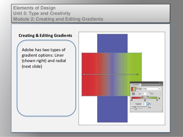 Elements of Design Unit 5: Type and Creativity Module 2: Creating and Editing Gradients Creating & Editing Gradients Adobe...
