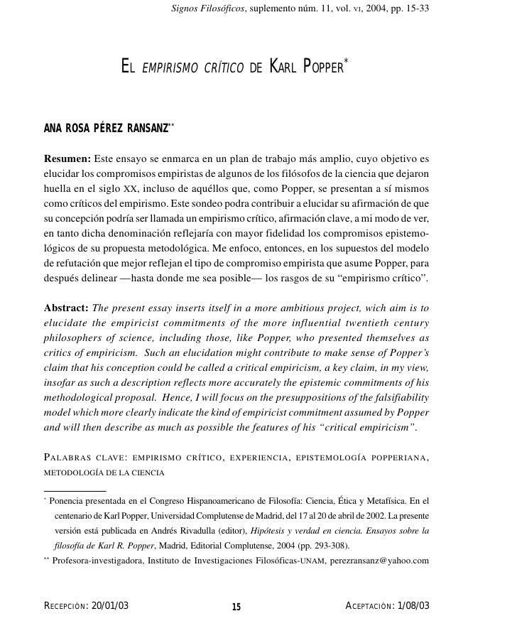 El empirísmo crítico de Karl...       Signos Filosóficos, suplemento núm. 11, vol. VI, 2004, pp. 15-33                    ...