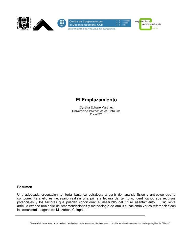 El Emplazamiento                                                         Cynthia Echave Martínez                          ...
