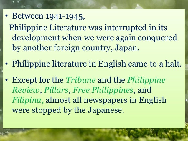 philippine literature period of self discovery and growth Philippine literature grew during the period of self discovery influences in literature were based on economics, politics, social systems, and colonization.