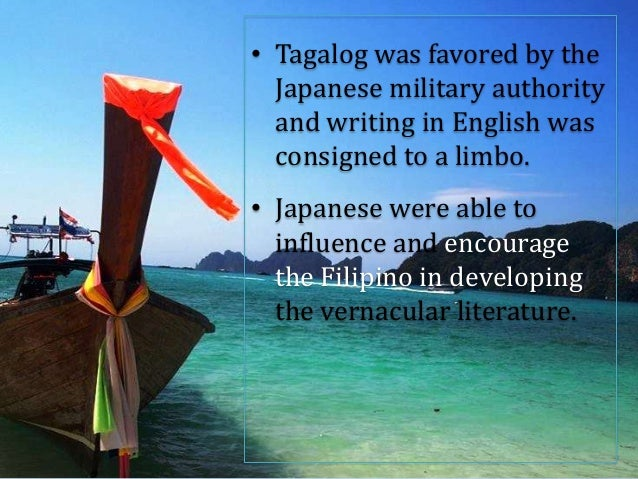 philippine literature during japanese period essay Japanese period , rebirth of freedom filipino poetry the common theme of most poems during the japanese occupation was nationalism, country, love, and life in the barrios, faith, religion and the arts.