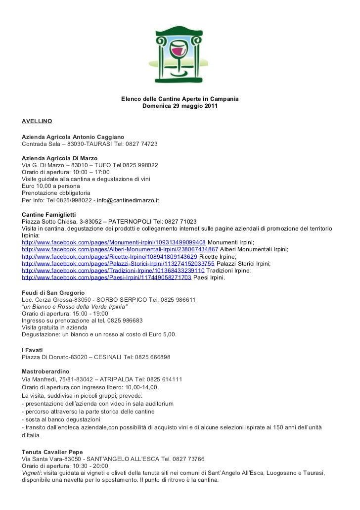Elenco delle Cantine Aperte in Campania                                              Domenica 29 maggio 2011AVELLINOAziend...