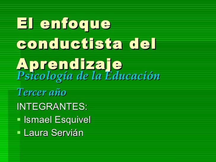 El enfoque conductista del Aprendizaje <ul><li>Psicología de la Educación </li></ul><ul><li>Tercer año </li></ul><ul><li>I...