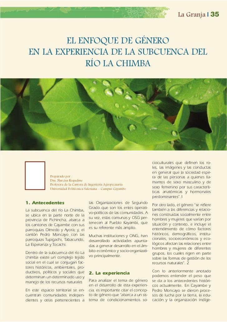 La Granja | 35         EL ENFOQUE DE GÉNERO EN LA EXPERIENCIA DE LA SUBCUENCA DEL              RÍO LA CHIMBA              ...