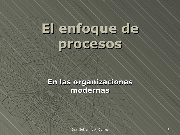 El enfoque de procesos En las organizaciones modernas Ing. Guillermo A, Corres