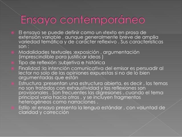 El ensayo for Caracteristicas de los contemporaneos