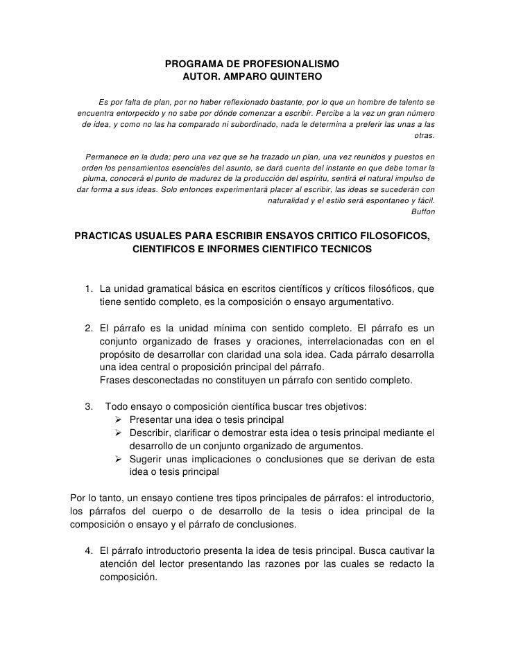 PROGRAMA DE PROFESIONALISMO                             AUTOR. AMPARO QUINTERO         Es por falta de plan, por no haber ...