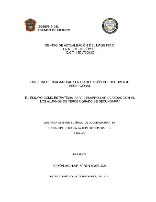 CENTRO DE ACTUALIZACIÓN DEL MAGISTERIO EN NEZAHUALCÓYOTL C.C.T. 15DLT0003O ESQUEMA DE TRABAJO PARA LA ELABORACIÓN DEL DOCU...