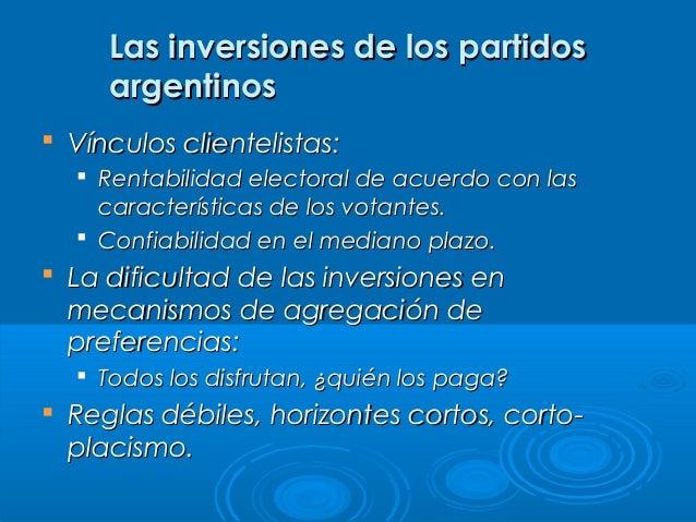 Las inversiones de los partidos argentinos  Vínculos clientelistas:  Rentabilidad electoral de acuerdo con las caracterí...