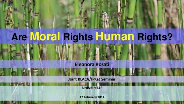 Are Moral Rights Human Rights? Eleonora Rosati Joint BLACA/IPKat Seminar Bird&Bird LLP 12 February 2014