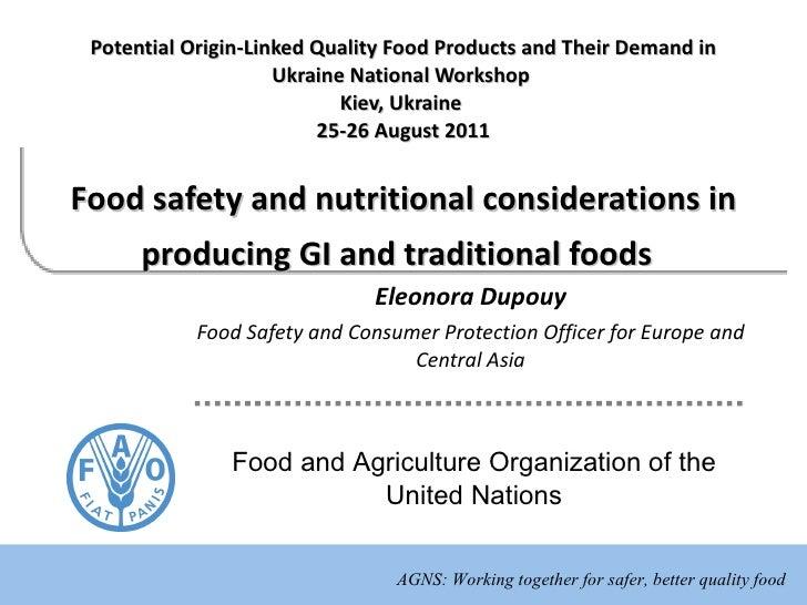 Potential Origin-Linked Quality Food Products and Their Demand in Ukraine   National  Workshop  Kiev, Ukraine   25-26 Augu...