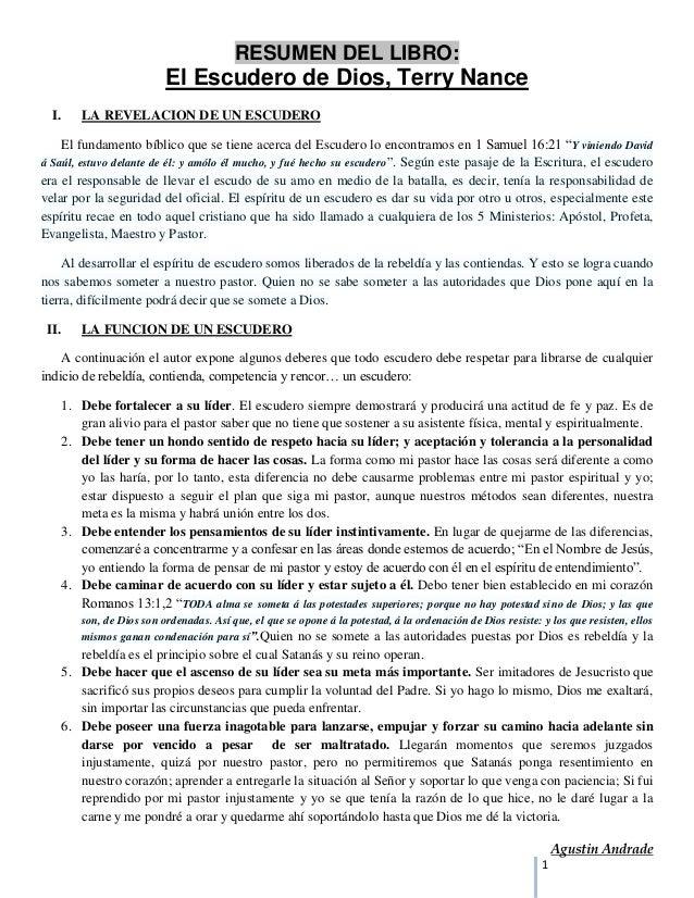 RESUMEN DEL LIBRO:                          El Escudero de Dios, Terry Nance  I.    LA REVELACION DE UN ESCUDERO    El fun...