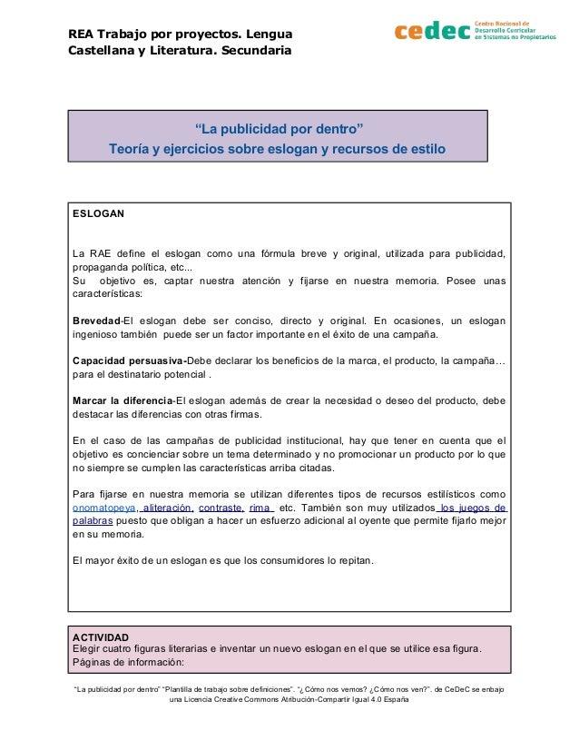 """REA Trabajo por proyectos. Lengua Castellana y Literatura. Secundaria """"La publicidad por dentro"""" Teoría y ejercicios sobre..."""