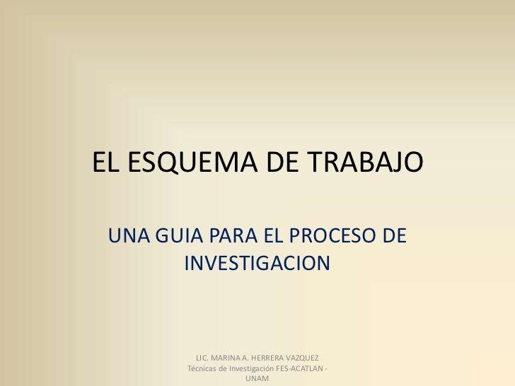EL ESQUEMA DE TRABAJO UNA GUIA PARA EL PROCESO DE       INVESTIGACION          LIC. MARINA A. HERRERA VAZQUEZ        Técni...