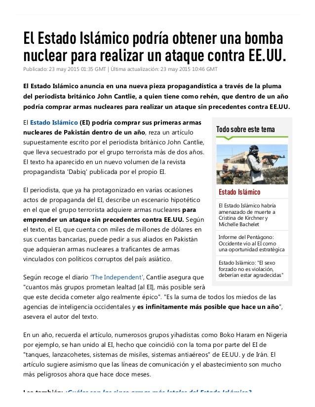 24/5/2015 ElEstadoIslámicopodríaobtenerunabombanuclearpararealizarunataquecontraEE.UU.RT http://actualidad...