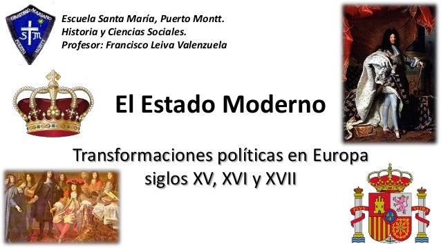 El Estado Moderno Transformaciones políticas en Europa siglos XV, XVI y XVII Escuela Santa María, Puerto Montt. Historia y...