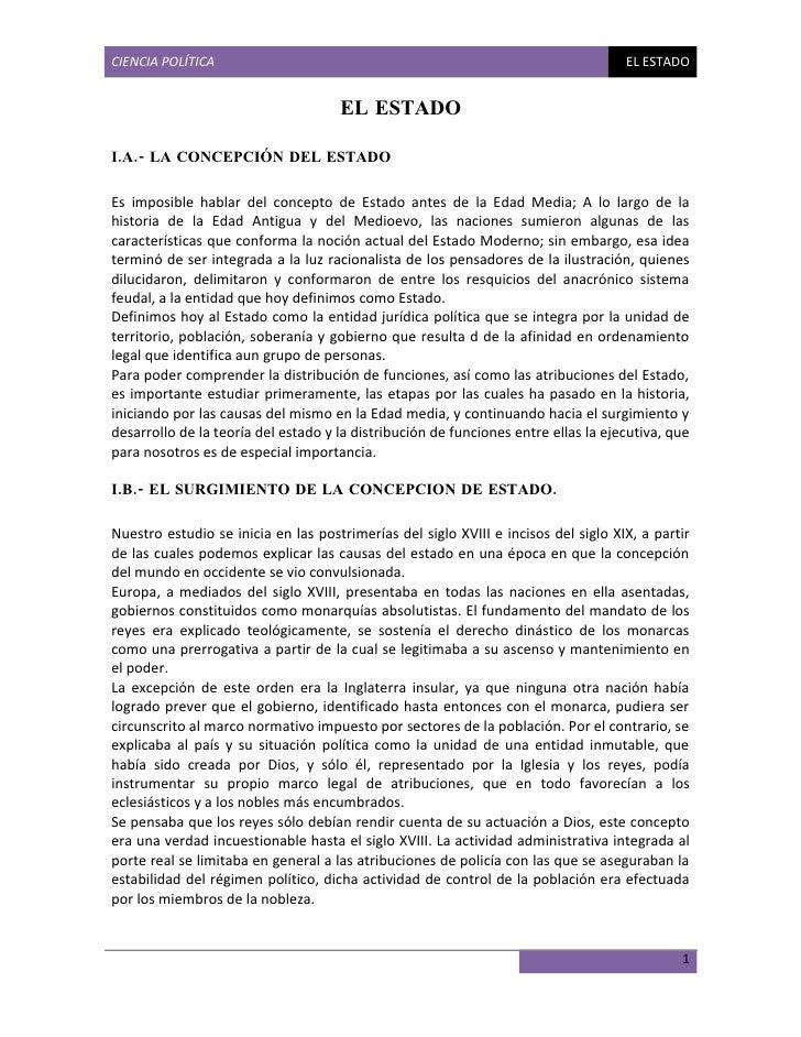 CIENCIA POLÍTICA                                                                    EL ESTADO                             ...