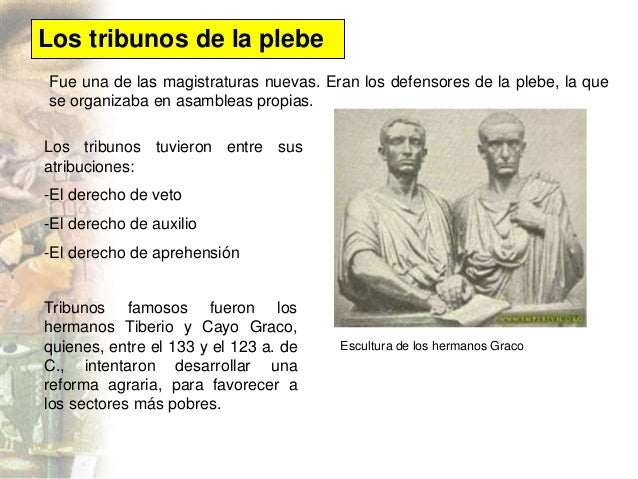 Resultado de imagen de caracteristicas tribunos de la plebe