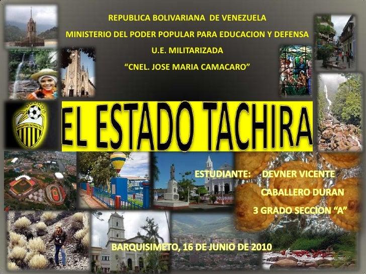 REPUBLICA BOLIVARIANA DE VENEZUELAMINISTERIO DEL PODER POPULAR PARA EDUCACION Y DEFENSA                  U.E. MILITARIZADA...