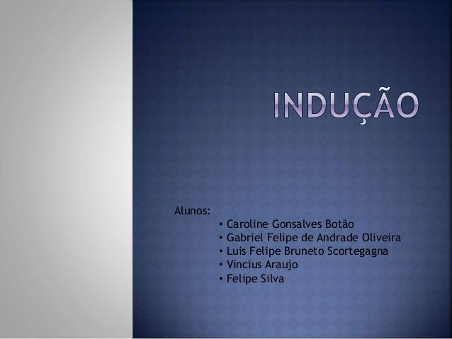 Alunos: • Caroline Gonsalves Botão • Gabriel Felipe de Andrade Oliveira • Luis Felipe Bruneto Scortegagna • Vincius Araujo...
