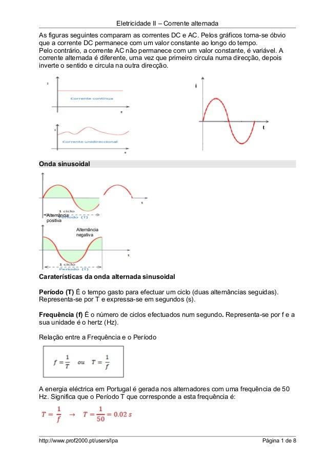 Eletricidade II – Corrente alternada As figuras seguintes comparam as correntes DC e AC. Pelos gráficos torna-se óbvio que...
