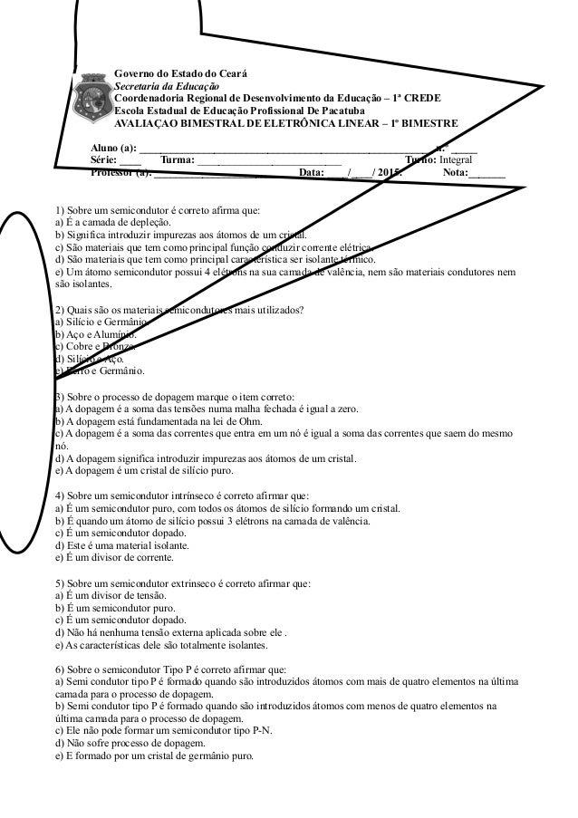 Governo do Estado do Ceará Secretaria da Educação Coordenadoria Regional de Desenvolvimento da Educação – 1ª CREDE Escola ...