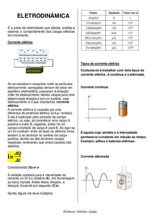 Exercicios de eletrodinamica corrente eletrica