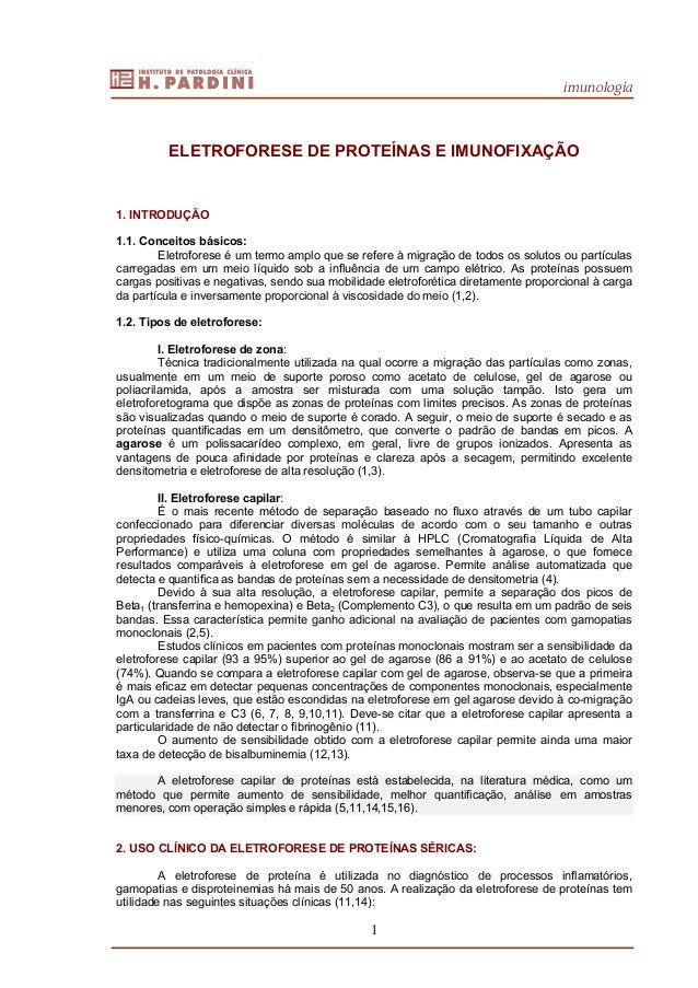 imunologia 1 ELETROFORESE DE PROTEÍNAS E IMUNOFIXAÇÃO 1. INTRODUÇÃO 1.1. Conceitos básicos: Eletroforese é um termo amplo ...