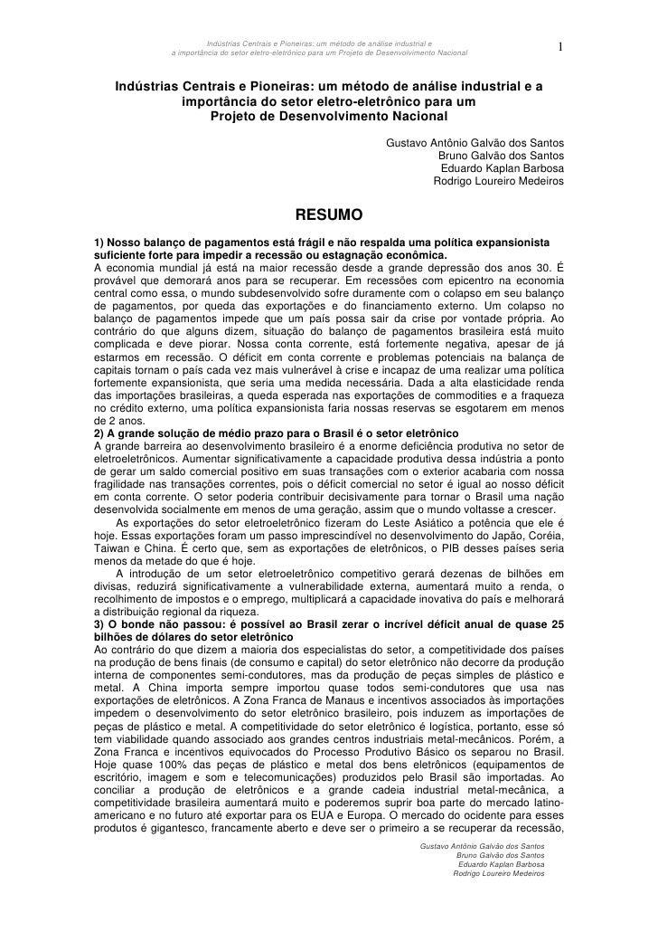 Indústrias Centrais e Pioneiras: um método de análise industrial e                                                        ...