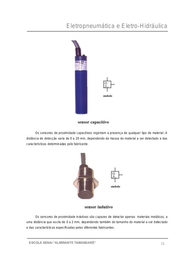 """Eletropneumática e Eletro-Hidráulica 11ESCOLA SENAI """"ALMIRANTE TAMANDARɔ Os sensores de proximidade capacitivos registram..."""