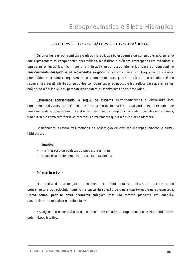 """Eletropneumática e Eletro-Hidráulica 25ESCOLA SENAI """"ALMIRANTE TAMANDARɔ CIRCUITOS ELETROPNEUMÁTICOS E ELETRO-HIDRÁULICOS..."""