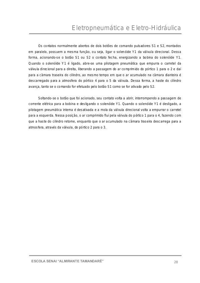 """Eletropneumática e Eletro-Hidráulica 28ESCOLA SENAI """"ALMIRANTE TAMANDARɔ Os contatos normalmente abertos de dois botões d..."""