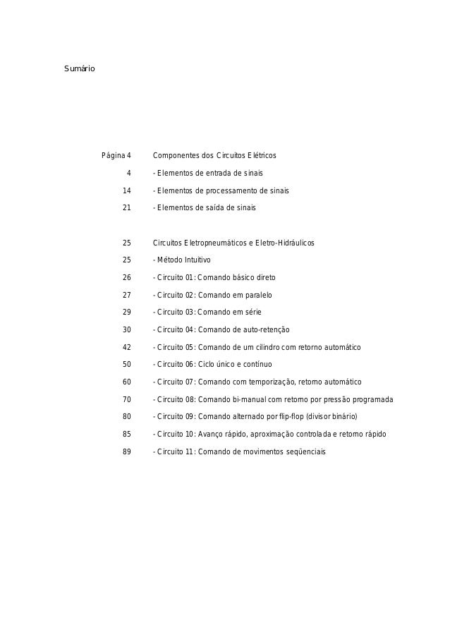 Sumário Página 4 Componentes dos Circuitos Elétricos 4 - Elementos de entrada de sinais 14 - Elementos de processamento de...