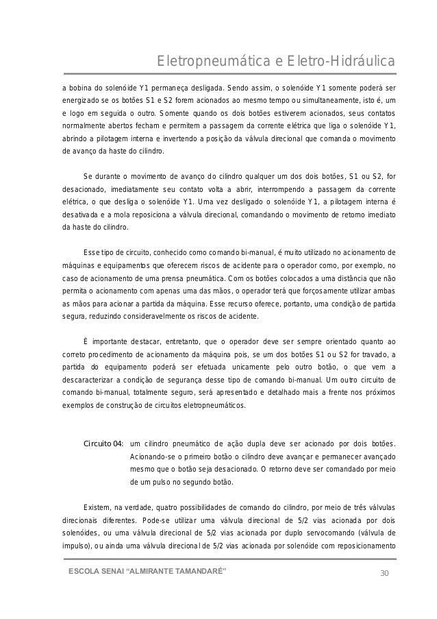 """Eletropneumática e Eletro-Hidráulica 30ESCOLA SENAI """"ALMIRANTE TAMANDARɔ a bobina do solenóide Y1 permaneça desligada. Se..."""