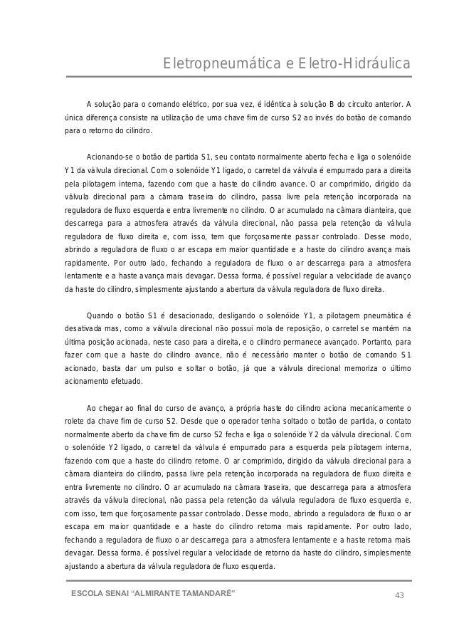 """Eletropneumática e Eletro-Hidráulica 43ESCOLA SENAI """"ALMIRANTE TAMANDARɔ A solução para o comando elétrico, por sua vez, ..."""