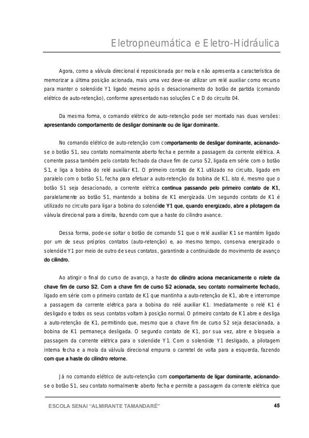 """Eletropneumática e Eletro-Hidráulica 45ESCOLA SENAI """"ALMIRANTE TAMANDARɔ Agora, como a válvula direcional é reposicionada..."""