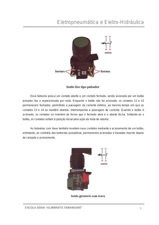 """Eletropneumática e Eletro-Hidráulica 5ESCOLA SENAI """"ALMIRANTE TAMANDARɔ Essa botoeira possui um contato aberto e um conta..."""