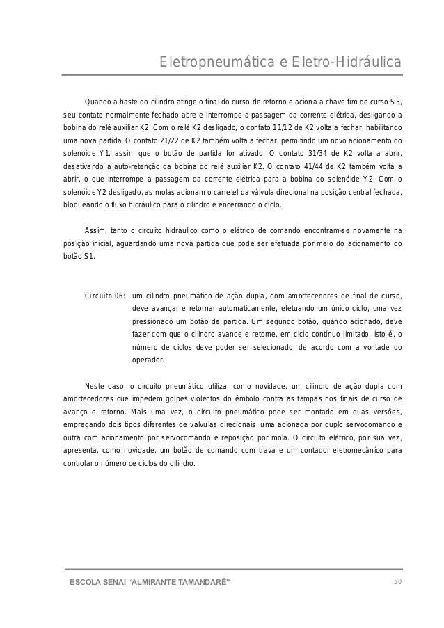 """Eletropneumática e Eletro-Hidráulica 50ESCOLA SENAI """"ALMIRANTE TAMANDARɔ Quando a haste do cilindro atinge o final do cur..."""