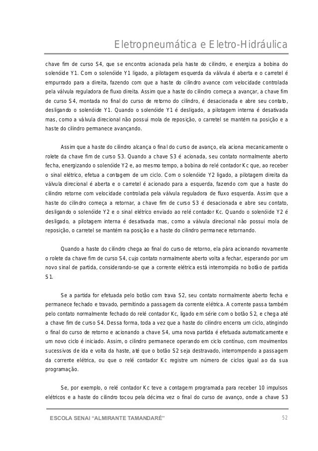 """Eletropneumática e Eletro-Hidráulica 52ESCOLA SENAI """"ALMIRANTE TAMANDARɔ chave fim de curso S4, que se encontra acionada ..."""